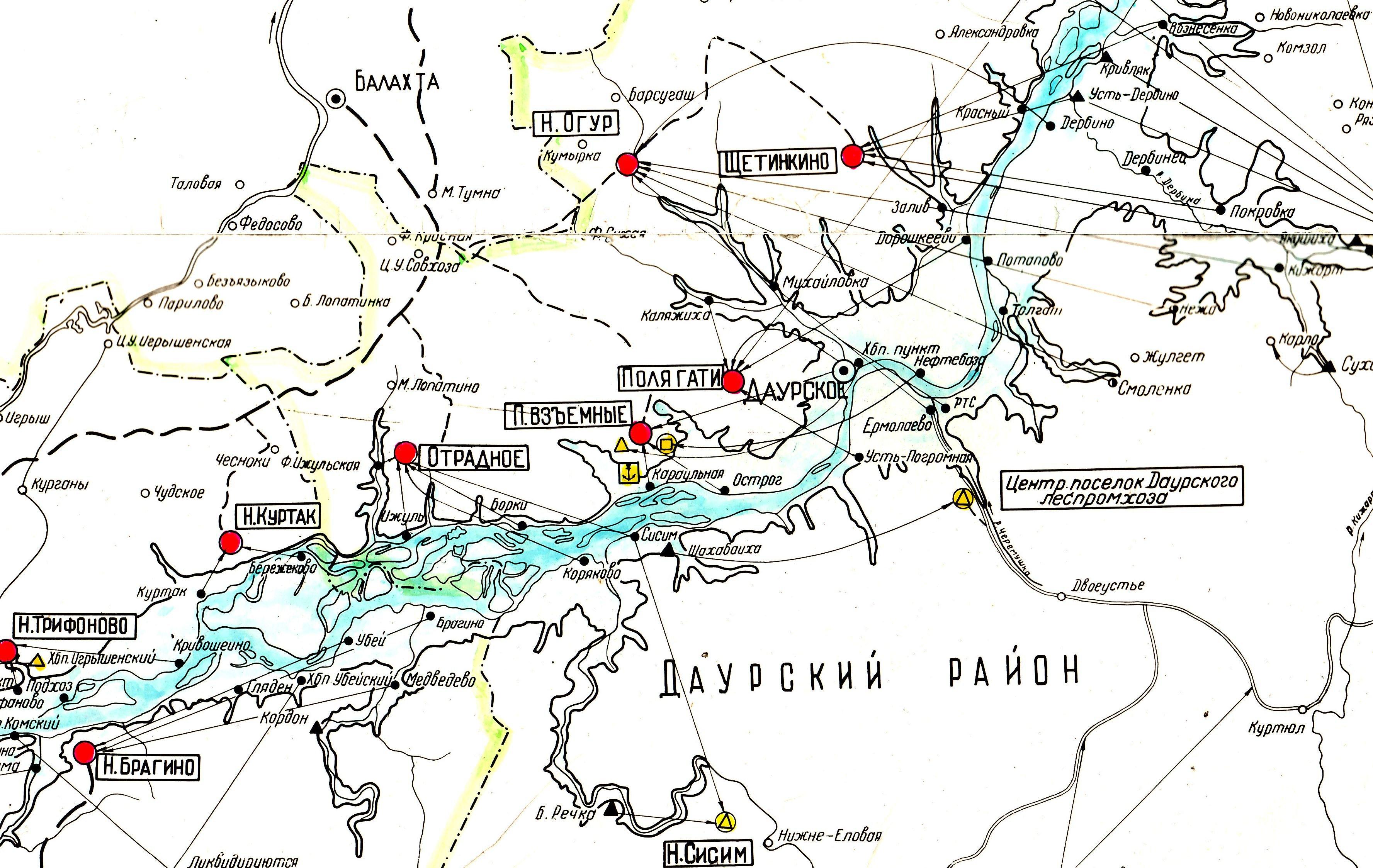 Карта затопленных деревень